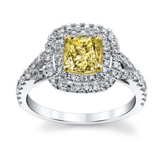 Candlelight 18K White and Yellow Gold Yellow Diamond Engagement Ring 1 3/4 Carat Total Weight