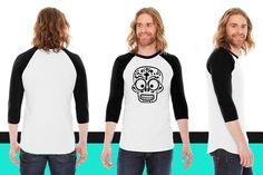 grin stick figure 1c American Apparel Unisex 3/4 Sleeve T-Shirt