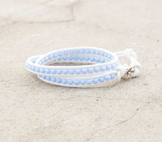 Baby Blue Beaded 2x White Leather Wrap Bohemian Style by ByLEXY