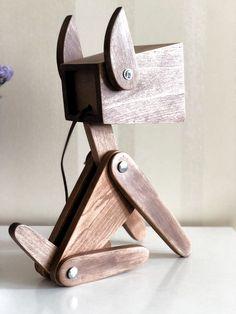 Wooden alder lamp dog night light for children color light image 4 Lamp Design, Wood Design, Design Design, Bois Diy, Wood Dog, Wooden Lamp, Wooden Diy, Diy Wood, Handmade Wooden