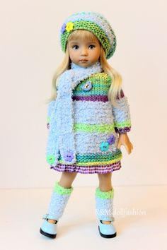 "R&M DOLLFASHION- OOAK PLUSH LINE outfit set for LITTLE DARLING EFFNER 13"" dolls 