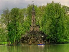 Germany -Inside the lake around Castle Monrepos there's an island with an abandoned church ....this is stunning!!