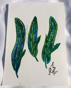 Watercolor feather Watercolor painting Original by RSwatercolor