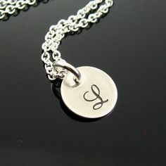 Initial Charm Pendant Necklace - Hand Stamped Sterling Silver - Teeny Tiny Round Pendant - Your Choice of Initial - Custom Fonts