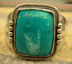 Item # 724R - Lg Vintage Navajo Square Turquoise Decorated Bracelet