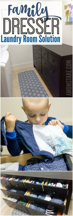 An amazing solution to the laundry problem all moms face. A family dresser helps organize the clothes and eliminate the dirty piles spread across the home. #ad #organizing #cleaning #moms #hacks #parenting #laundryroom #home #laundry via @amomstake