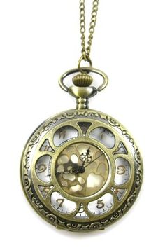 Hollow Flower Pocket Watch Necklace