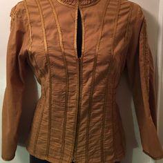 Caramel Colored Corset Style Blouse Hook & Eye Closure, 3/4 sleeves Worthington Tops Blouses