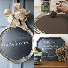 Silver trays and ribbon at The Dollar Tree, then paint with chalkboard paint. (Make your own chalk board paint- acrylic paint and plaster. So much cheaper than buying chalkboard paint! Cute Crafts, Crafts To Do, Diy Crafts, Do It Yourself Inspiration, Silver Trays, Silver Platters, Creation Deco, Ideas Geniales, Idee Diy