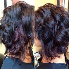 Red violet peekaboo highlights