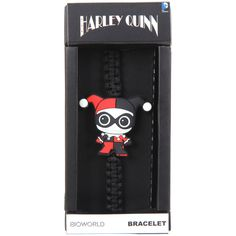 DC Comics Harley Quinn Kawaii Cord Bracelet ($3.75) ❤ liked on Polyvore featuring jewelry, bracelets, black, charm jewelry, rope bracelet, charm bangles, rubber jewelry and cord bracelet