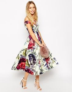 Enlarge ASOS TALL Beautiful Floral Printed Midi Prom Dress