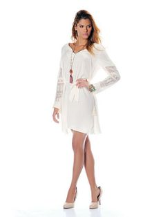 robe manche broderie - V avec cordon - CpourL Cold Shoulder Dress, White Dress, Dresses, Fashion, Spring Summer 2016, Trendy Outfits, Cords, Dress Ideas, Sleeve