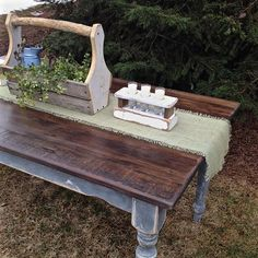 FARMHOUSE DINING TABLE WITH RECLAIMED BARN WOOD TABLE TOP built by @theoldandtheelegant Repurposed vintage dining table legs paired with…