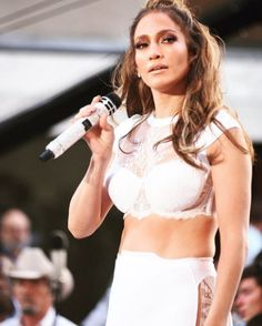 """Jennifer Lopez wearing LaPerla with Casadei pumps performing """"Love Makes the World Go 'Round"""" on The Today Show. Styled by #RandM."""