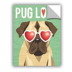 "ArtWall Michael Mullan Beach Bums Pug I Love Wall Decal Size: 32"" H x 24"" W x 0.1"" D"