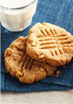 Easy Peanut Butter Cookies — Easy Peanut Butter Cookies? We'll say! 5 ingredients. 25 minutes. No flour to measure. The result: Deeply, intensely peanut-buttery cookies.
