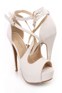White Peep Toe Strappy Heels Faux Leather