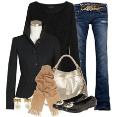 Perfect! Black blazer, cool jeans and neutral bag / scarf. Probably pass on those shoes ... motorcycle boots instead.