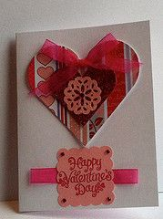 Valentine card w/MS punched doily & layered hearts