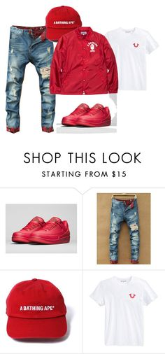"""Fire Ball"" by femalekingin ❤ liked on Polyvore featuring NIKE, True Religion, A BATHING APE, men's fashion and menswear"