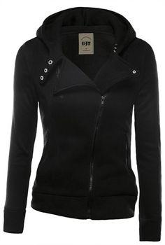 Biker Jacket - Stylish Hooded Long Sleeve Zippered Slimming Hoodie For Women