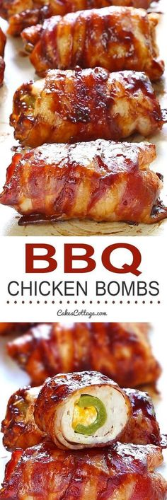 Get your tastebuds ready for Bacon BBQ Chicken Bombs! It's chicken, cheese, bbq sauce, bacon and jalapeno. and yes, it's as good as you are dreaming it is! Bbq Chicken Bombs, Barbecue Chicken, Chicken Bbq Sauce, Crockpot Bbq Chicken, Dinner Crockpot, Grilling Recipes, Cooking Recipes, Smoker Recipes, Rib Recipes