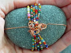 Left by Fairies / Beaded, Copper Wrapped Sea Stone / Sandi Pike Foundas / Cape Cod