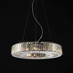 Diyas Torre Polished Chrome And Crystal Ceiling Pendant IL30079 | Buy Online from KES Lighting