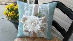 Romantic  Lace and  Blue Burlap  17 X 17 Pillow by cindidavis1, $20.00