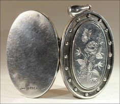 Antique Silver Lockets | Antique Victorian Silver Locket with Butterfly and Flower Motif, from ...