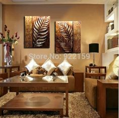 Yatsen Bridge Handmade 2 Piece Golden Modern Contemporary Abstract Oil Painting on Canvas Wall Art Leaf Pictures for Living Room Home Decorations Wooden Framed Rooms Home Decor, Home Decor Wall Art, Oil Painting Abstract, Painting Prints, Textured Painting, Oil Paintings, Painted Leaves, Hand Painted, Mandala