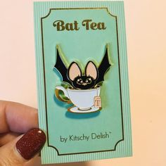 stickers An original illustration by Kelly Jackson of Kitschy Delish, now as a pin! Cute Bat, Cool Pins, Pin And Patches, Pin Badges, Pin Collection, Creations, Levitation Photography, Exposure Photography, Winter Photography