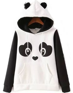 Panda Pattern Fleece Sweatshirt