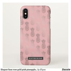 Elegant faux rose gold pink pineapple pattern iPhone x case Pretty Iphone Cases, Pink Phone Cases, Iphone 8 Plus, Iphone 7, Pineapple Monogram, Rose Gold Pink, Pineapple Pattern, Girly, Elegant