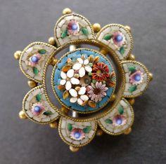 Micro Mosaic Flower Brooch Pin 1860's