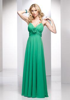 A-line V-neck Spaghetti Straps Ruched Bodice Flower Accent Chiffon Bridesmaid Dress-wbm0029, $199.95