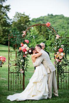 10 Darling Floral Arches for Your Wedding Ceremony garden wedding arch using vintage gate Wedding Ceremony Ideas, Wedding Arbors, Ceremony Arch, Arch Wedding, Wedding Trellis, Outdoor Ceremony, Reception, Wedding Dresses, Mod Wedding