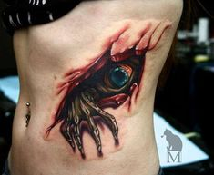 eye & creepy hand coming out of wounded flesh tattoo. Tattoos 3d, Creepy Tattoos, Bild Tattoos, Skull Tattoos, Body Art Tattoos, Tatoos, Horror Tattoos, Dragon Tattoos, Sleeve Tattoos