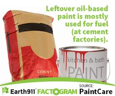 If you've just wrapped up a home-improvement project, don't forget to recycle any leftover paint that you're not planning to reuse. Even oil-based paints can have new life at the ol' cement factory. Check out www.paintcare.org for details. #homeimprovement #paint