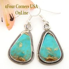 Pilot Mountain Turquoise Sterling Earrings Navajo Artisan Rick Martinez NAER-1519 Four Corners USA OnLine http://stores.fourcornersusaonline.com/pilot-mountain-turquoise-sterling-earrings-navajo-artisan-rick-martinez-naer-1519/