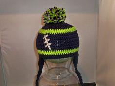 Seattle Seahawks football hat. Crochet