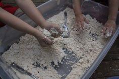 snow dough sensory bin