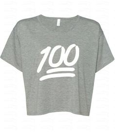 Emoji Clothes, Sweatpants, Tops, Bags, and Jewelry - 100 Emoji White Logo Boxy Crewneck, $12.98; at Etsy