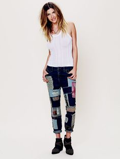 Free People Patched Slim Slouch Jeans at Free People Clothing Boutique