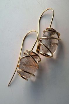 Tina Chow Signed Iconic 18K Wrapped Rutilated Quartz Drop Earrings 4 4PRS | eBay