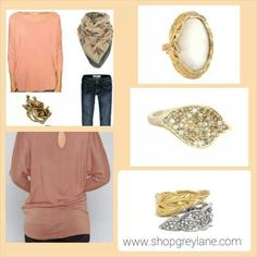 Create the look at the top as seen on Pinterest with our top and rings! www.shopgreylane.com