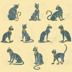 Egyptian Cats. Notice the adornments...