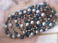 Браслет 0315 - браслет,жемчужный браслет,Сваровски,подарок,синий,серебро