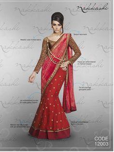 Nakkashi Exclusive red Coloured Fancy Designer Saree